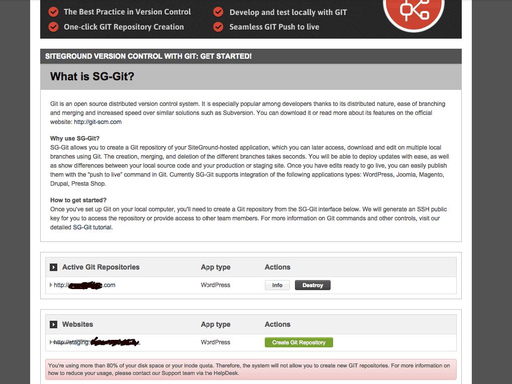 SiteGround Git disk space usage