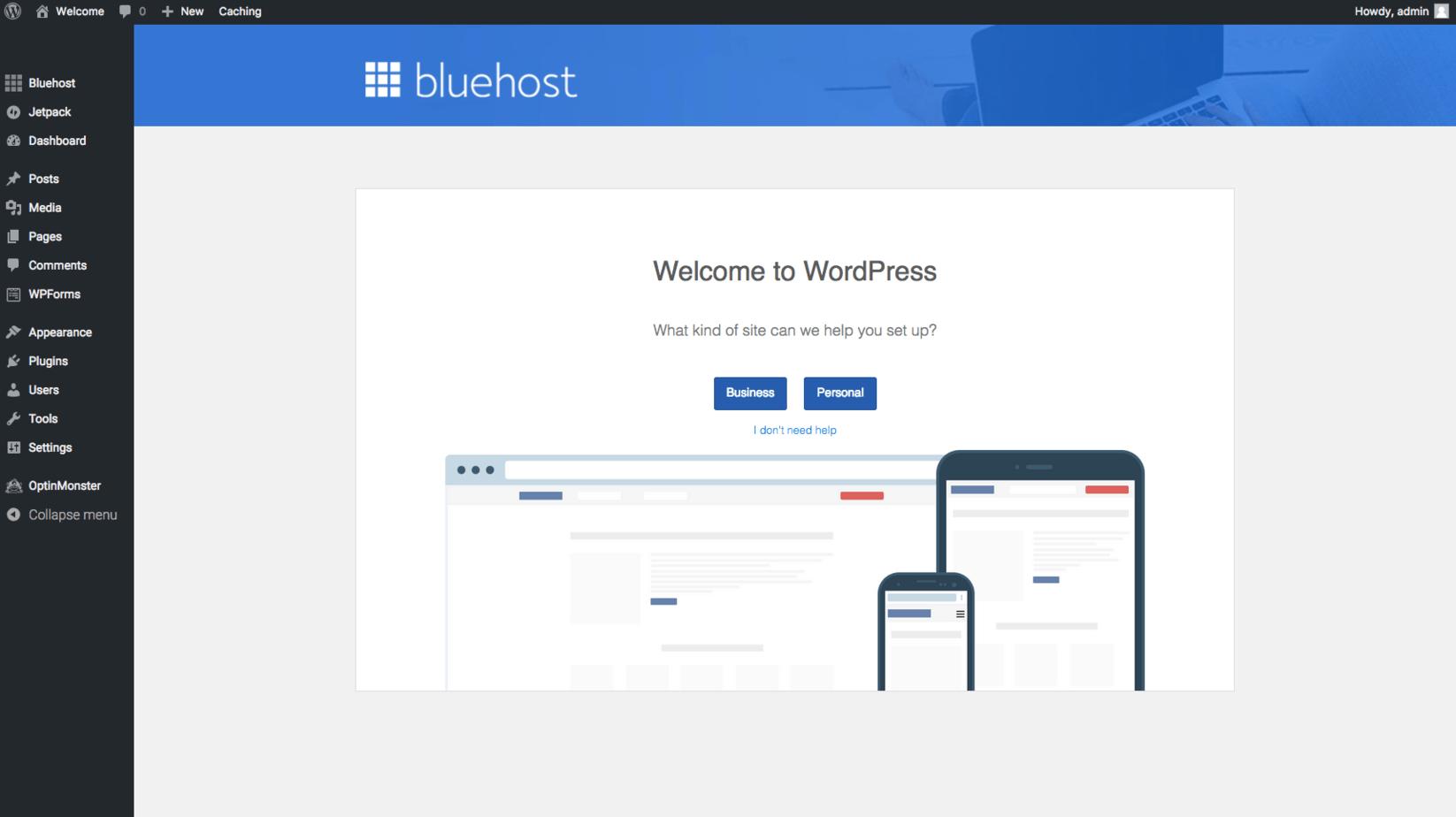 bluehost WP Dashboard