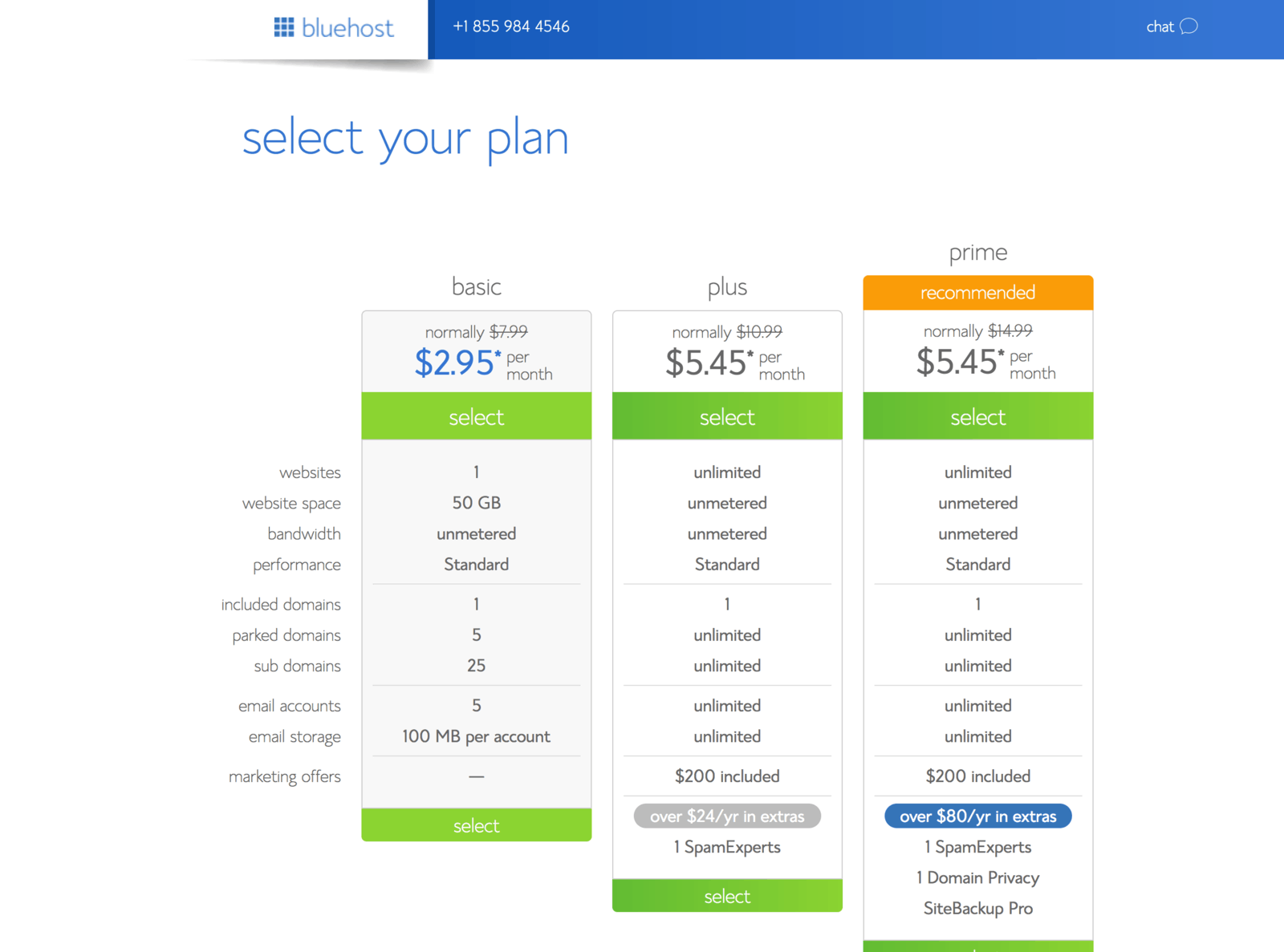 bluehost pricing page