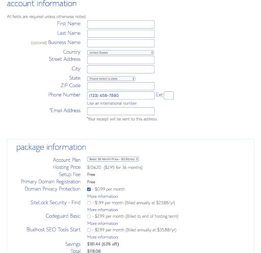 bluehost step 4 details