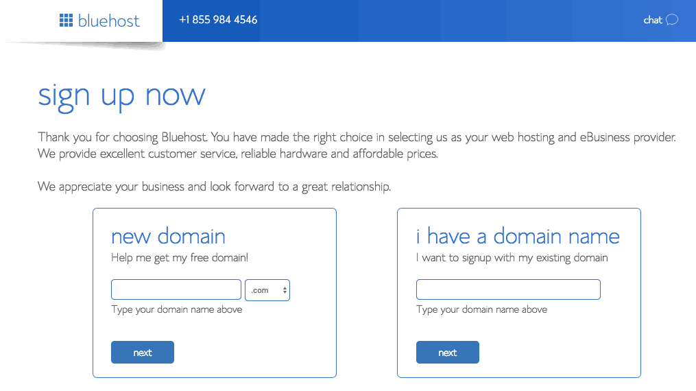 bluehost domain choose