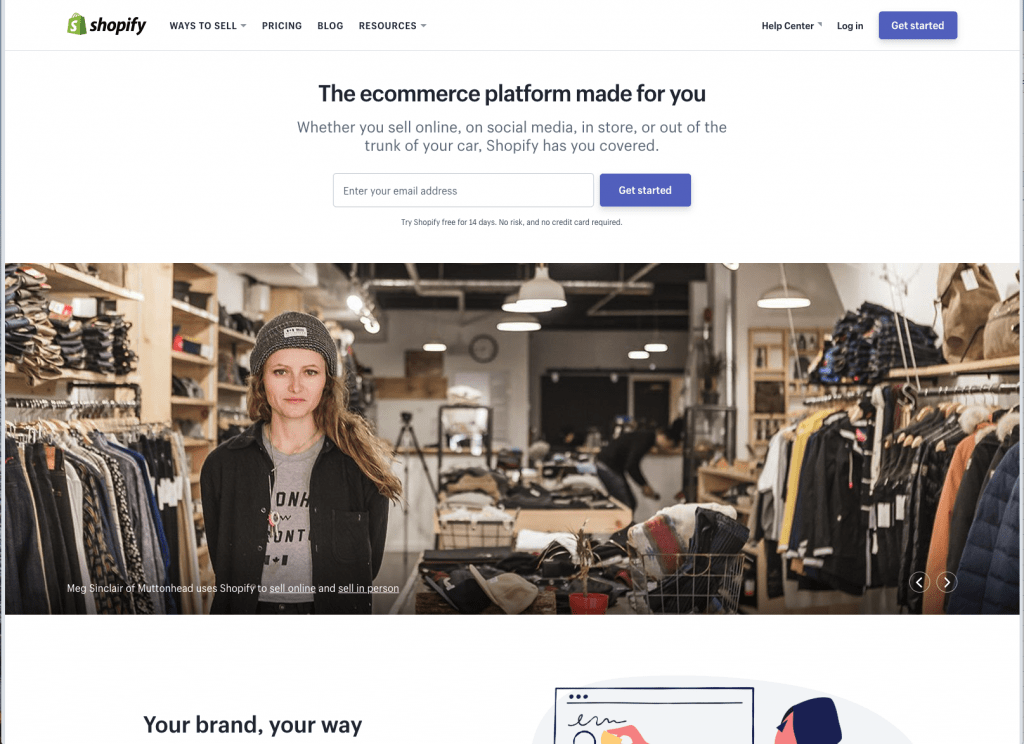 SHOPIFY HOMEPAGE SHOT