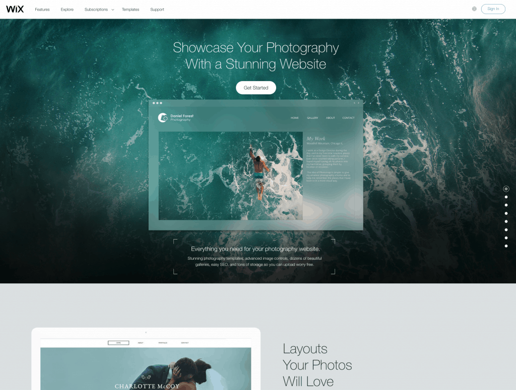 wix for photography websites