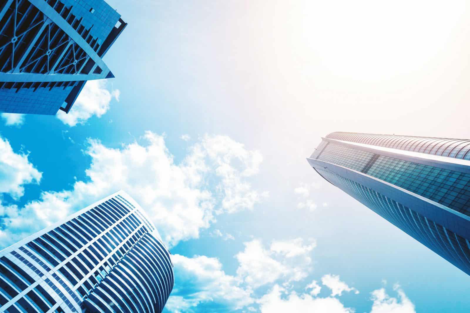 Business building, skyscraper looking up