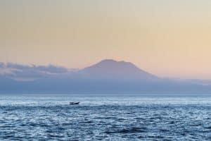 Mount Agung volcano in sunrise