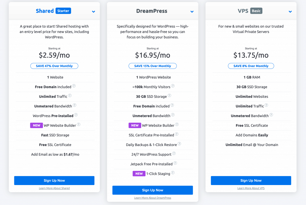 dreamhost plans pricing