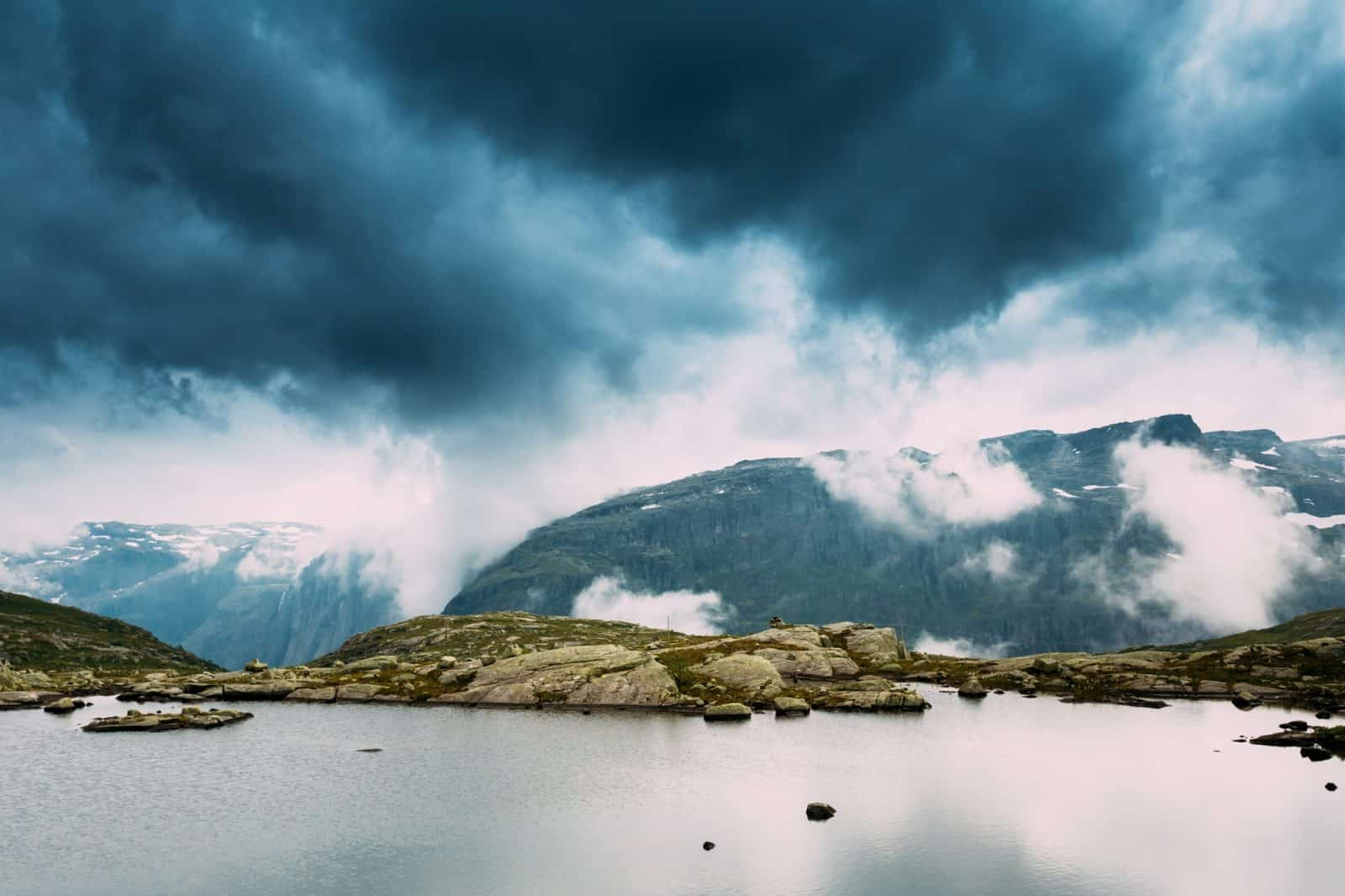 Scenic View Of Mountains Lake. Nature Of The Norwegian Mountains