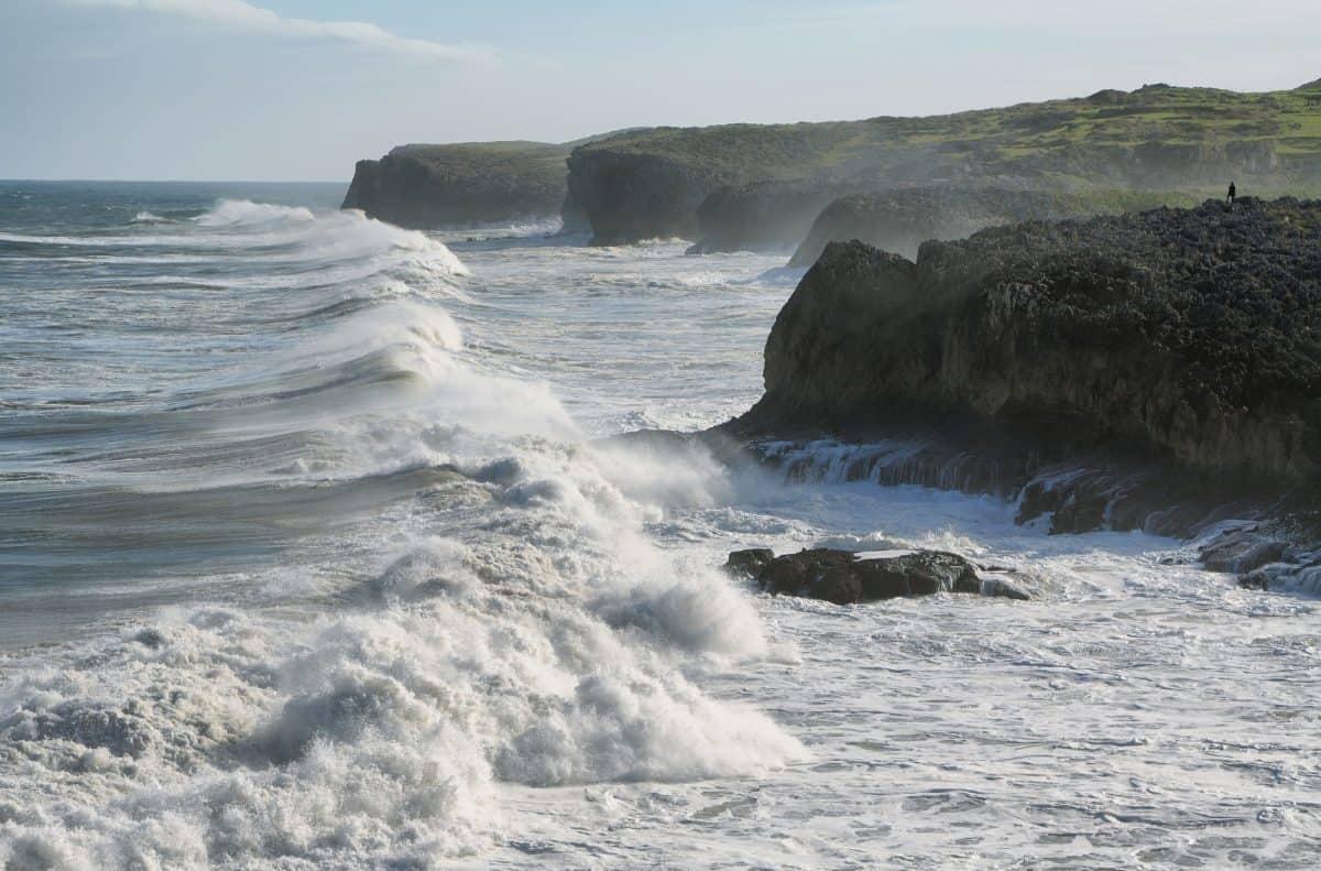Wild cliffs and ocean in Llanes village