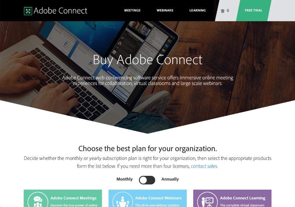 adobe connect webinar software homepage screenshot