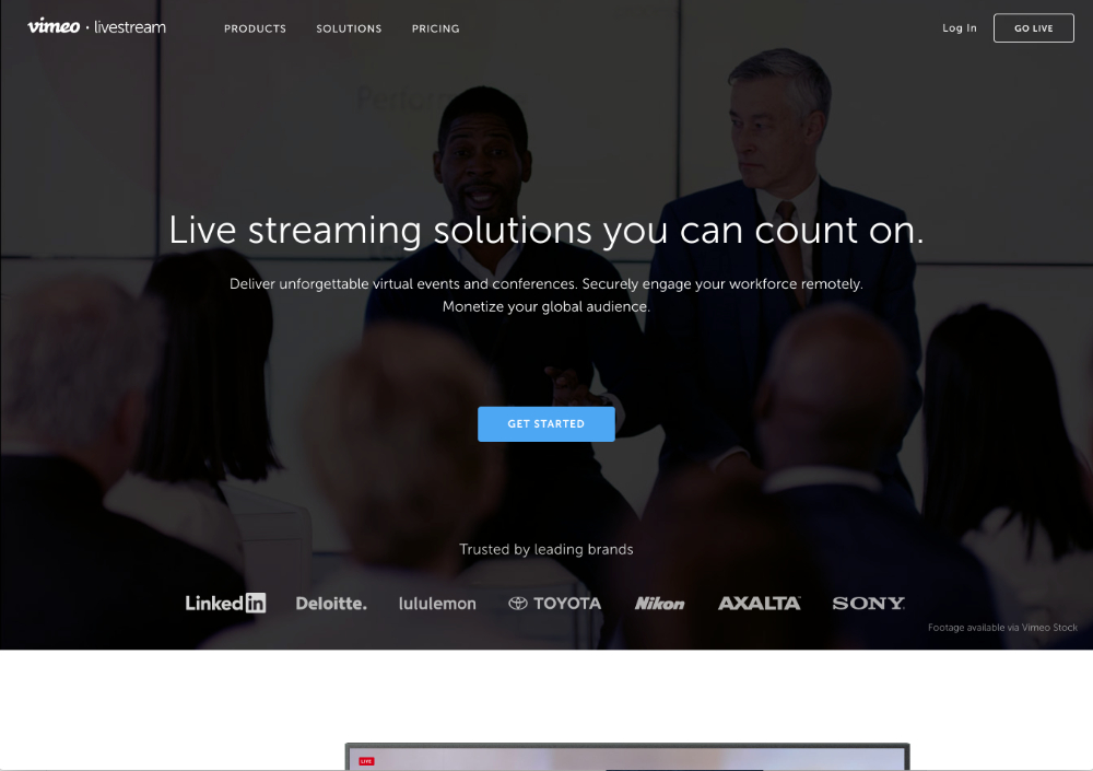 livestream webinar software homepage screenshot