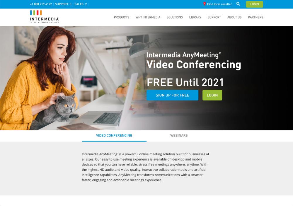 anymeeting webinar software homepage screenshot