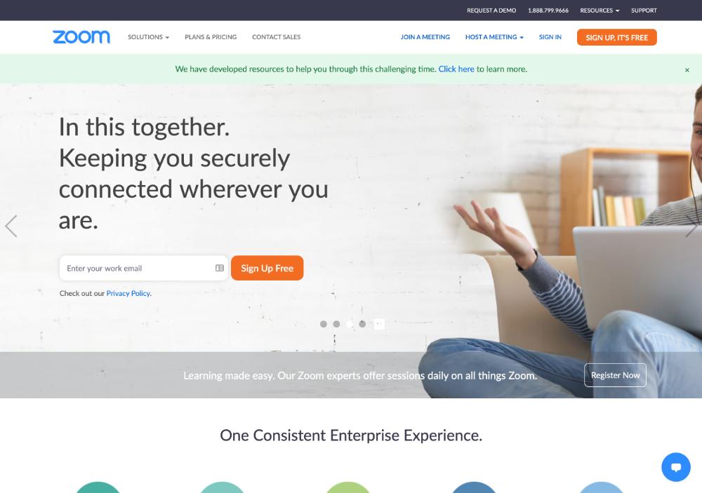 zoom webinar software homepage screenshot