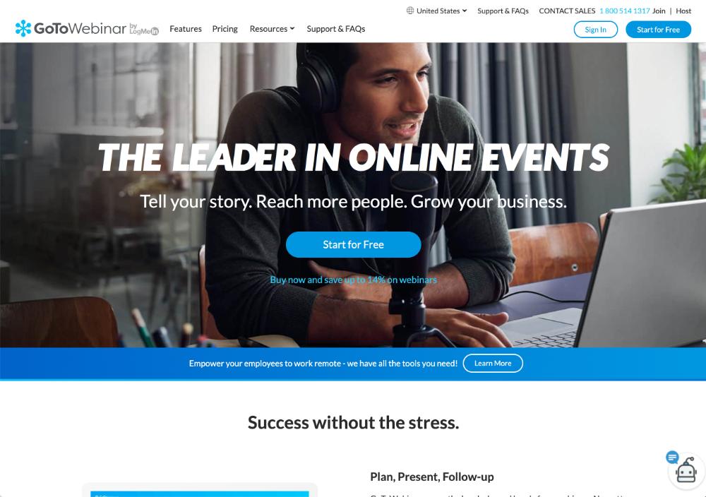 gotowebinar webinar software homepage screenshot