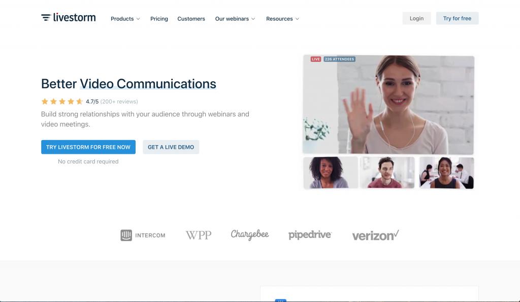 livestorm webinar software homepage screenshot