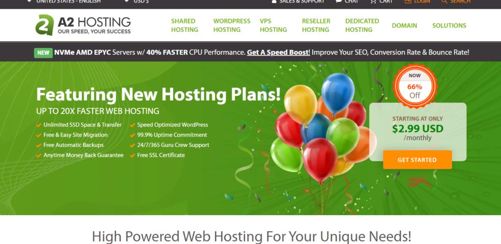 A2 Hosting website overview
