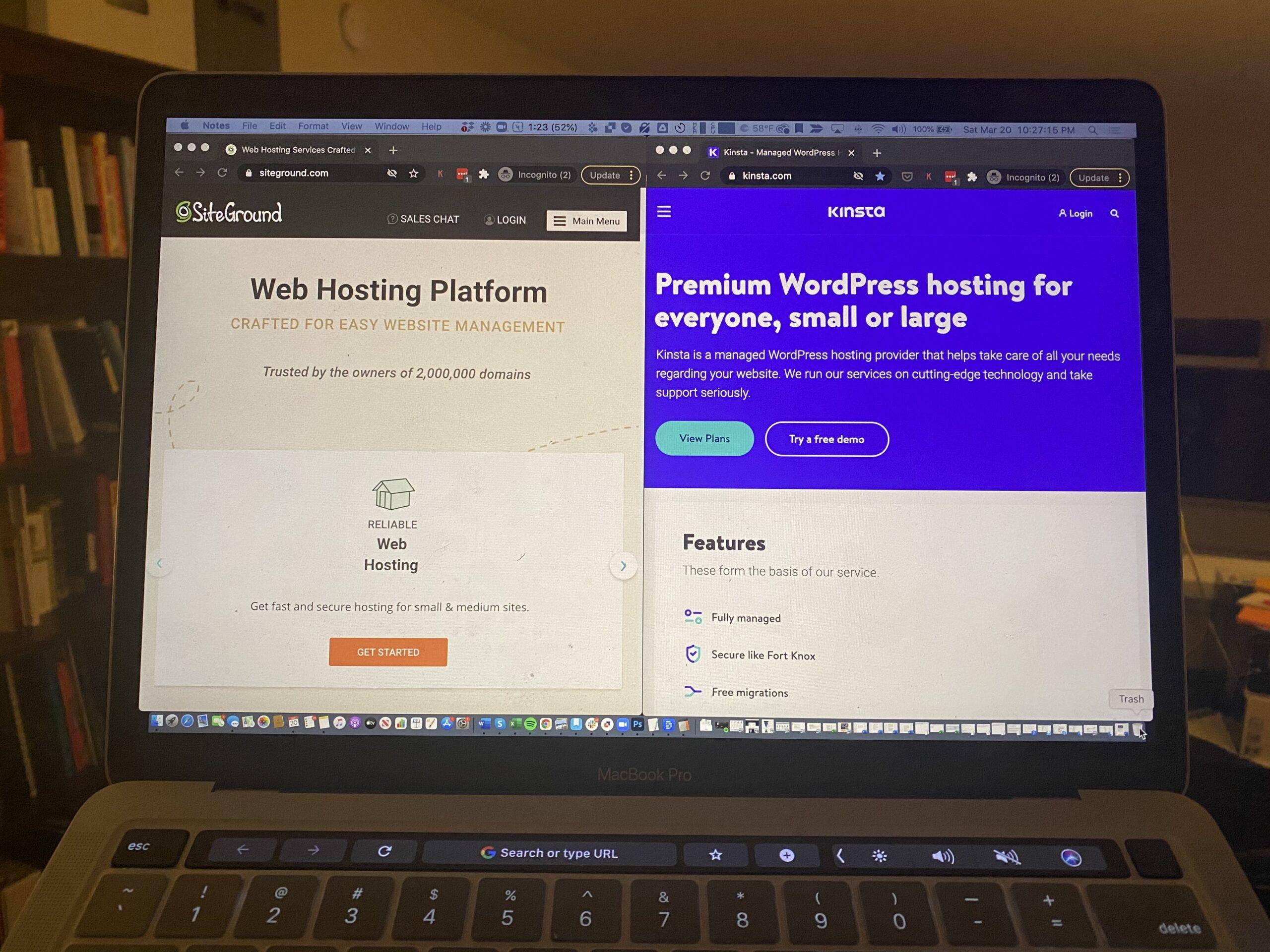 kinsta vs siteground on laptop screen